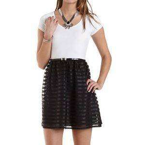 Striped Tulle Colorblock Dress Black and White